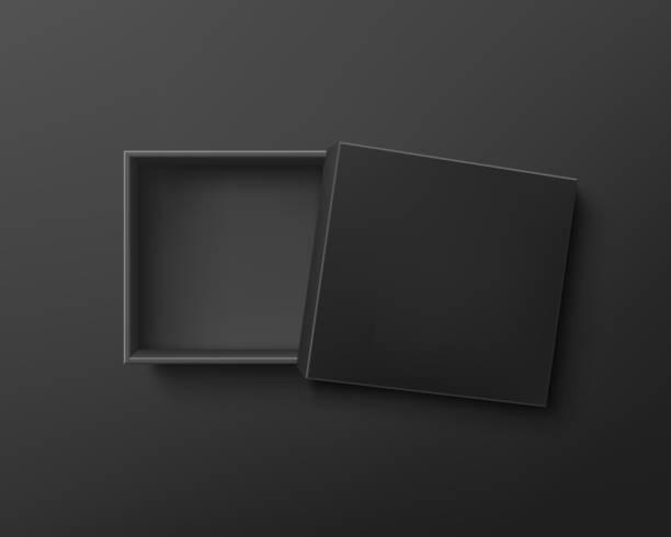 Opened black empty gift box on dark background. vector art illustration