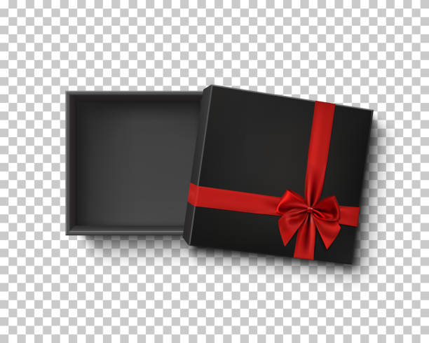 opened black empty gift box with red ribbon. - prezent na urodziny stock illustrations