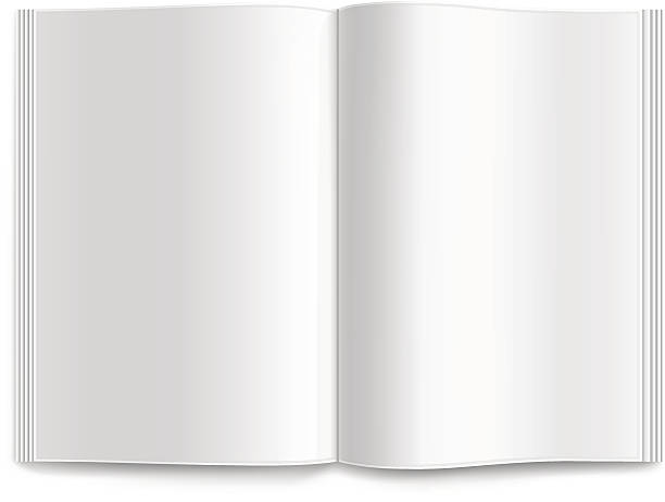 Opened blank magazine isolated on a white background Vector blank magazine spread. spreading stock illustrations