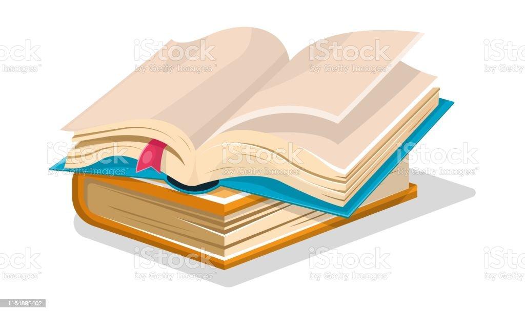 Livre Bleu Ouvert Avec Des Draps Vides Et Signet Rose Est