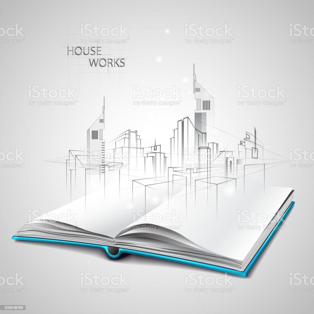 Opened book and drawing building sketches vector art illustration