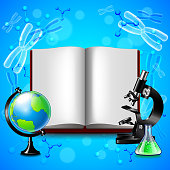 Opened book and science tools on blue background