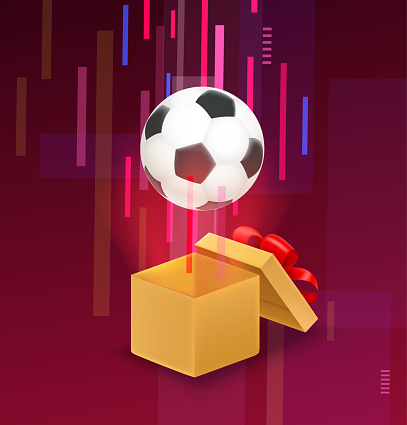 Opened box with soccer ball flying out from the box