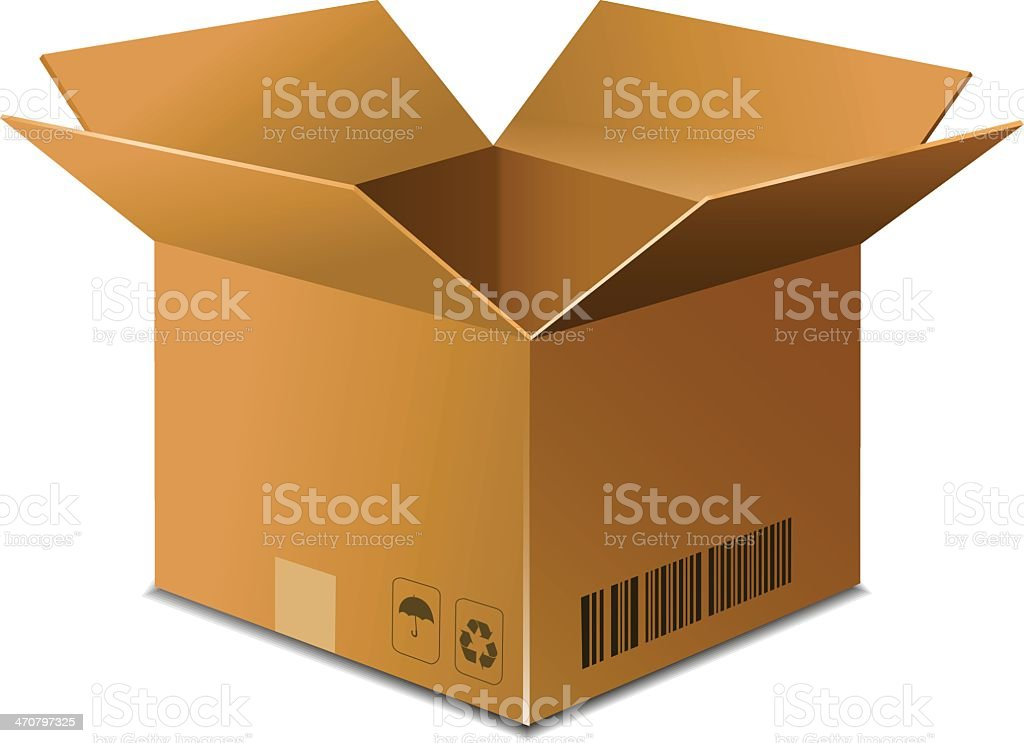Opened brown carton box on white background vector art illustration