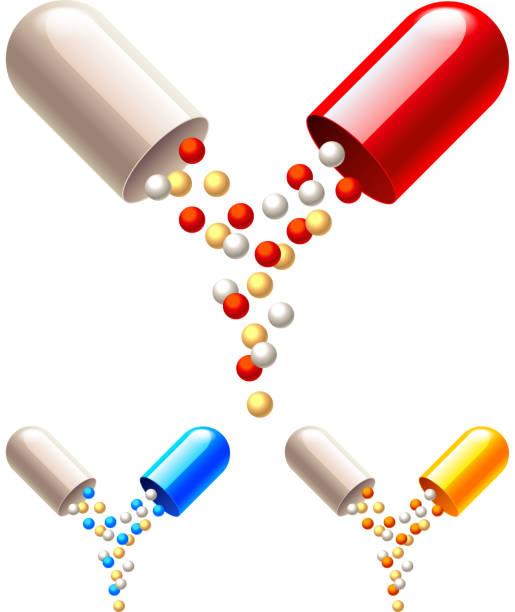 illustrazioni stock, clip art, cartoni animati e icone di tendenza di opened capsule with medicine granules isolated vector - antibiotico