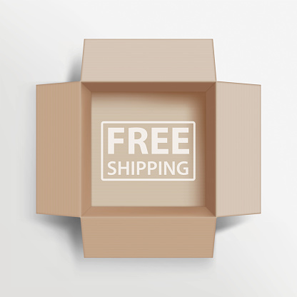 Opened cardboard box with an inscription Free Shipping.