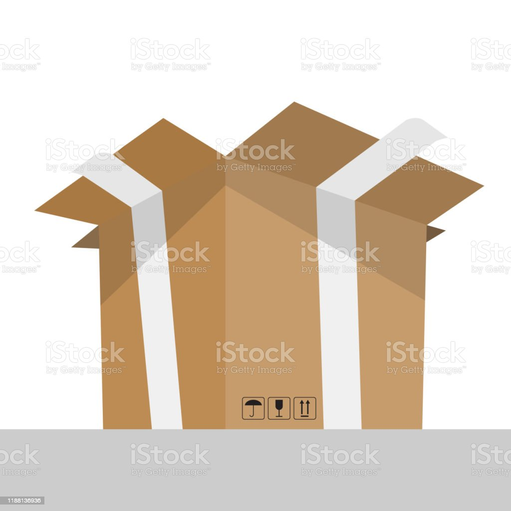 Opened cardboard box with perspective bottom view. Empty place for...