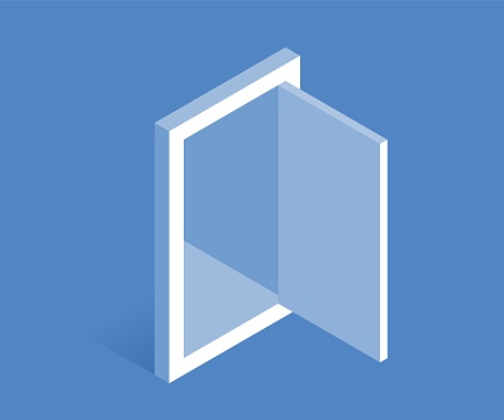 Opened door icon. Vector illustration in flat isometric 3D style.