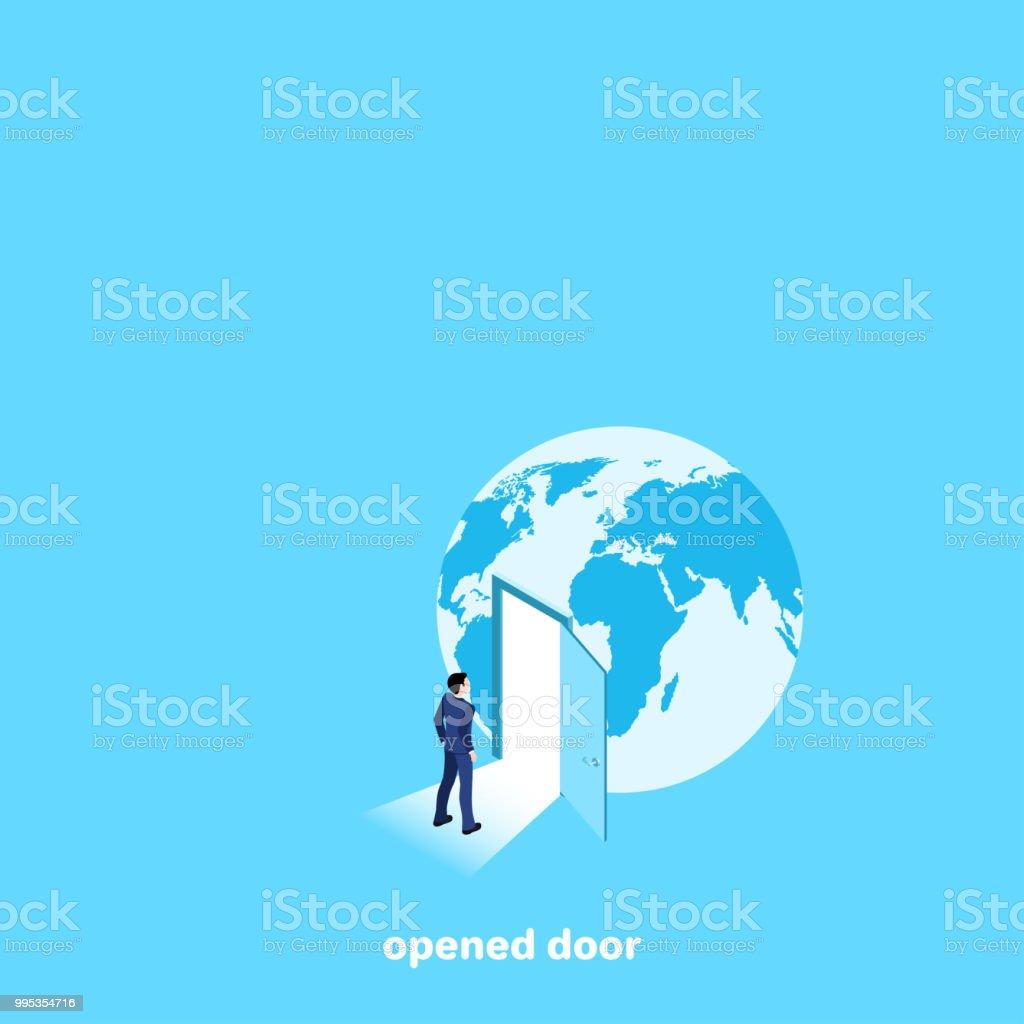 opened door vector art illustration