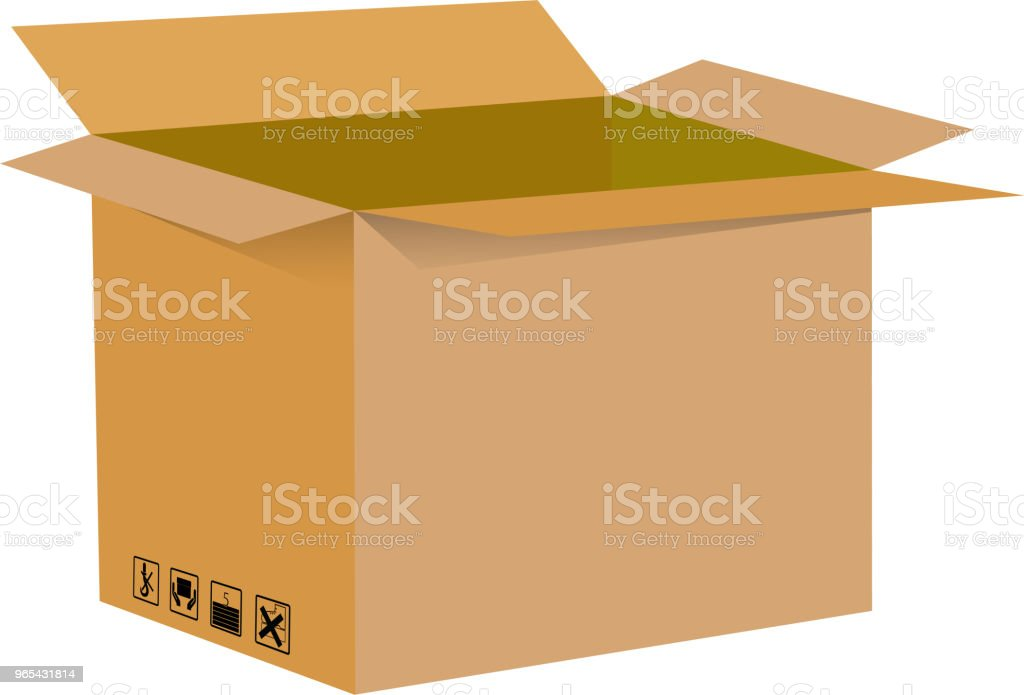 Opened Empty Box without reflection and shadow on white background royalty-free opened empty box without reflection and shadow on white background stock vector art & more images of blank