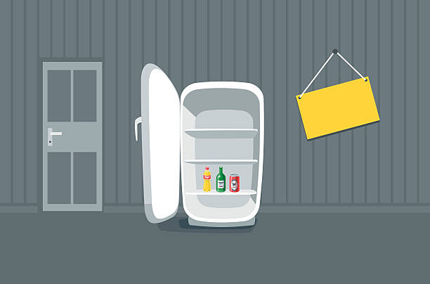 Opened Empty Broken Fridge in Front of a Wall Opened empty broken fridge vector illustration in cartoon style. Broken fridge standing in front of the wall in the room. Sign board hanging on the wall near the fridge with drink bottle beverages inside. fridge stock illustrations