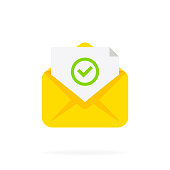 istock Opened envelope and document with green check mark icon. Approved tick marker, mail sent successfully, e-mail delivery, verification email. Vector flat cartoon illustration for web sites 1283700717