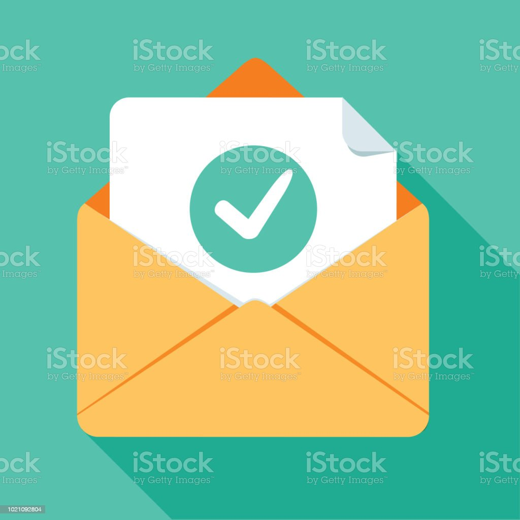Opened Envelope And Document With Green Check Mark Line