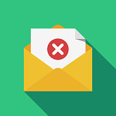 Opened envelope and document with red x mark line icon. Message was not sent, error, e-mail delivery failed, remove email, delete mail letter. Long shadow flat design. Vector illustration