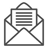 Opened envelope line icon. Mail letter with paper page symbol, outline style pictogram on white background. Postage or business sign for mobile concept and web design. Vector graphics.