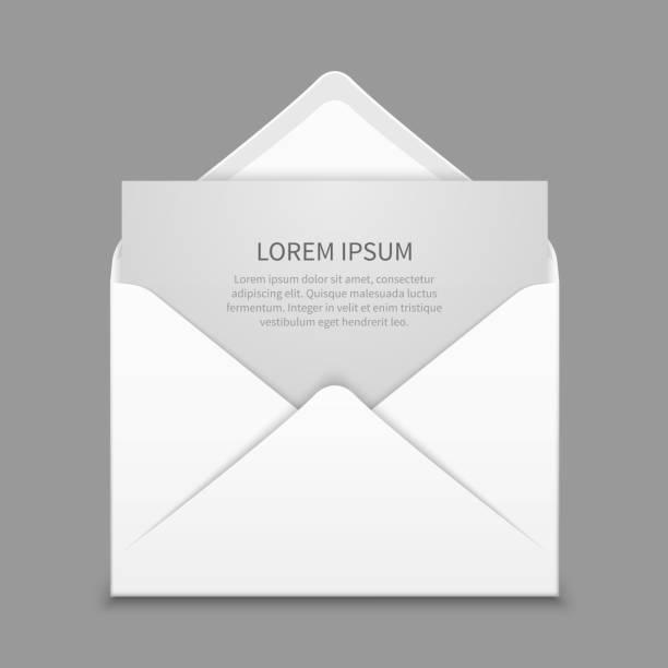 Opened envelope with blank paper latter vector realistic mockup – Vektorgrafik