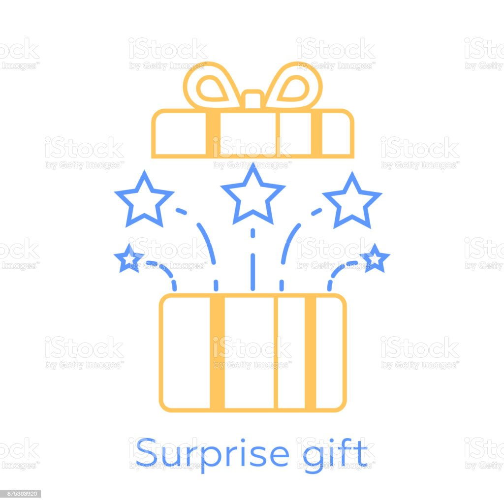 Opened gift box and fireworks, surprising present, unusual experience, special celebration, vector line icon vector art illustration
