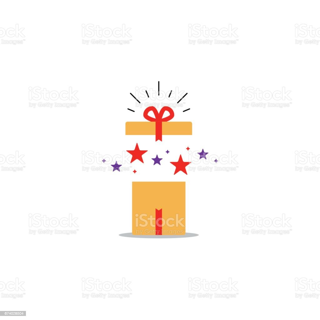 Opened gift box, surprise concept, birthday celebration