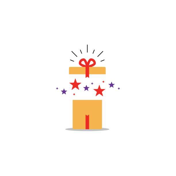 geöffnete geschenkbox, überraschung konzept, geburtstagsfeier - preisschachtel stock-grafiken, -clipart, -cartoons und -symbole