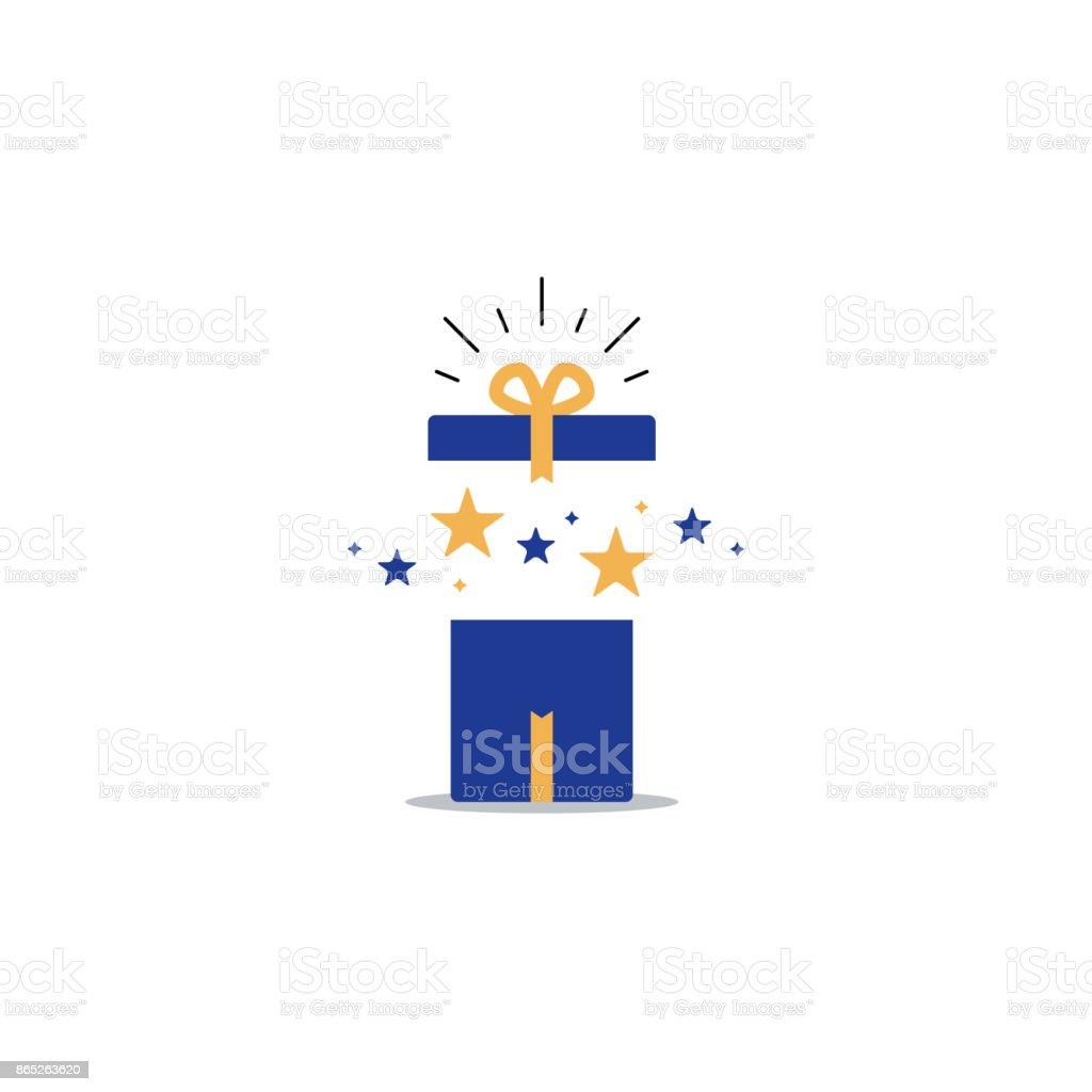Opened gift box, surprise concept, birthday celebration vector art illustration