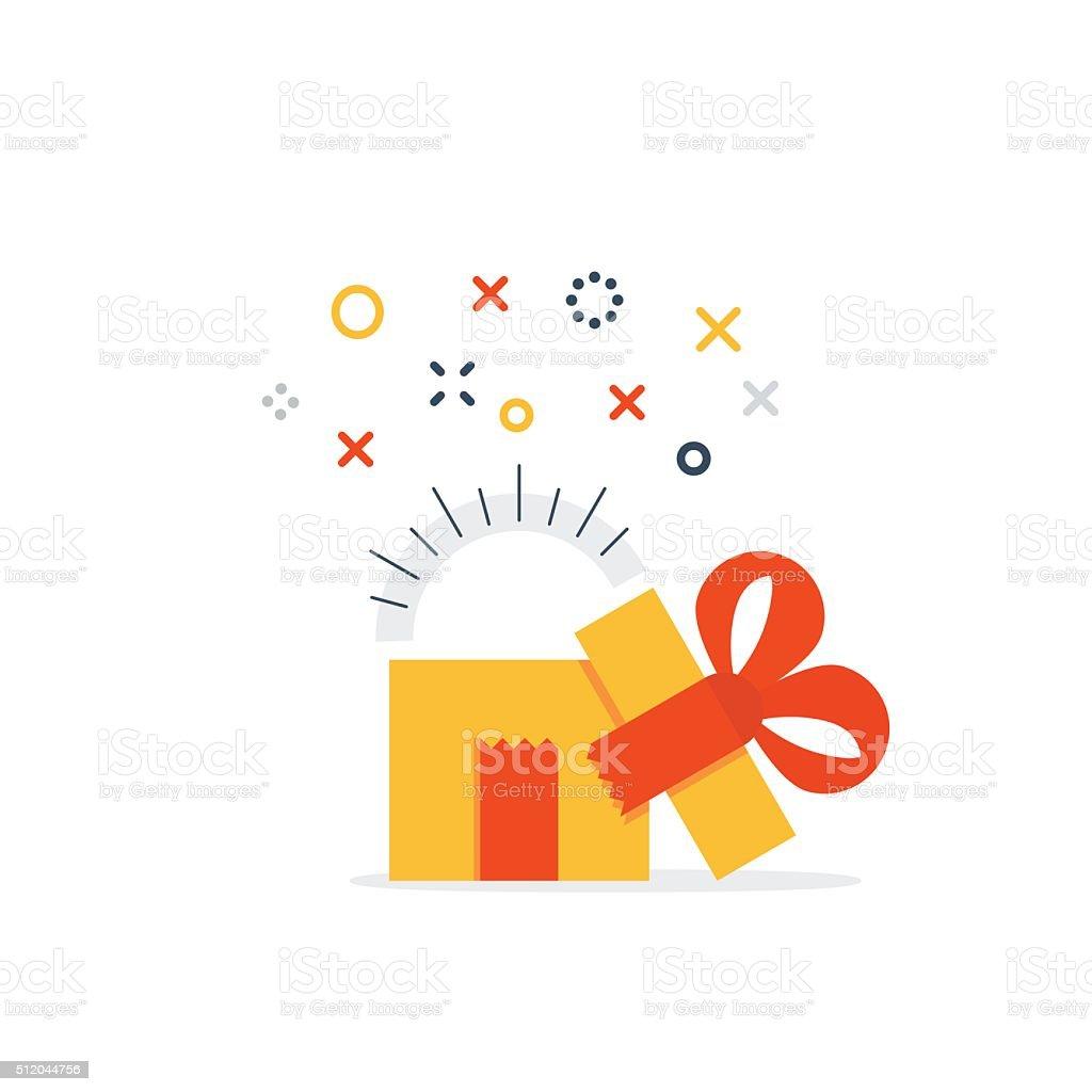 Opened gift box vector art illustration