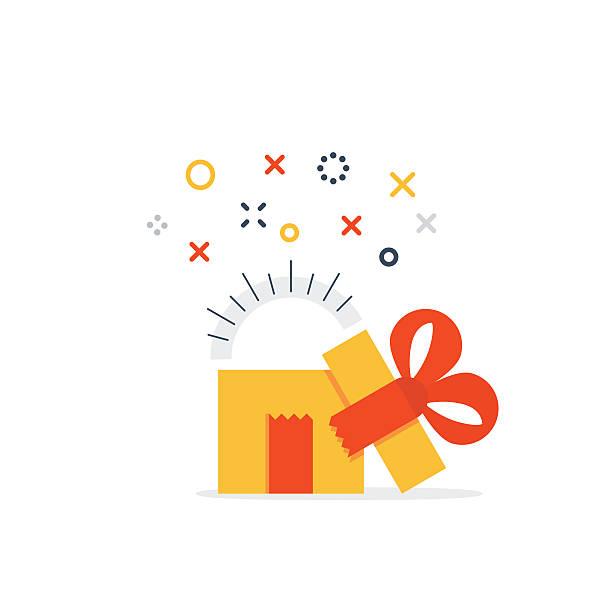 illustrazioni stock, clip art, cartoni animati e icone di tendenza di aperta scatola regalo - sorpresa