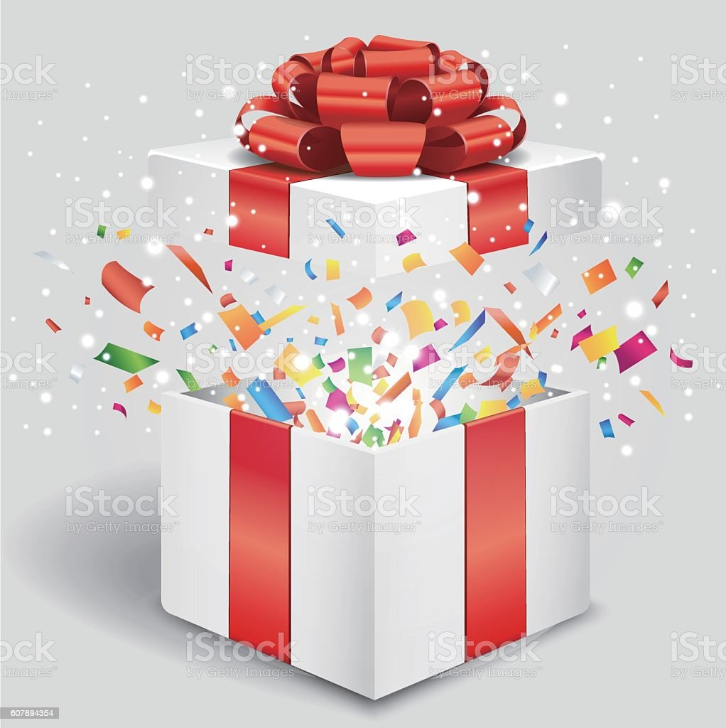 Opened gift box with red bow and confetti vector art illustration
