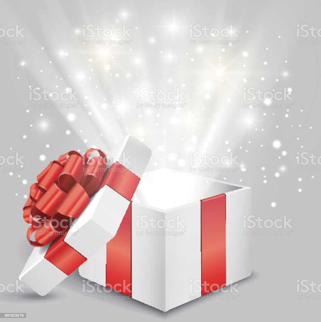 Opened gift box with red bow and lights