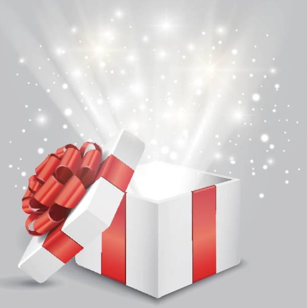 illustrazioni stock, clip art, cartoni animati e icone di tendenza di opened gift box with red bow and lights - sorpresa