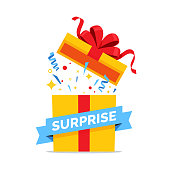 istock Opened gift box with red bow vector illustration. Surprise box with colorful confetti explosion. Prize icon isolated on white background. 1271929958