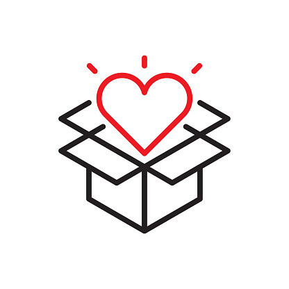 Opened Gift Line Icon