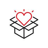istock Opened Gift Line Icon 1190630828