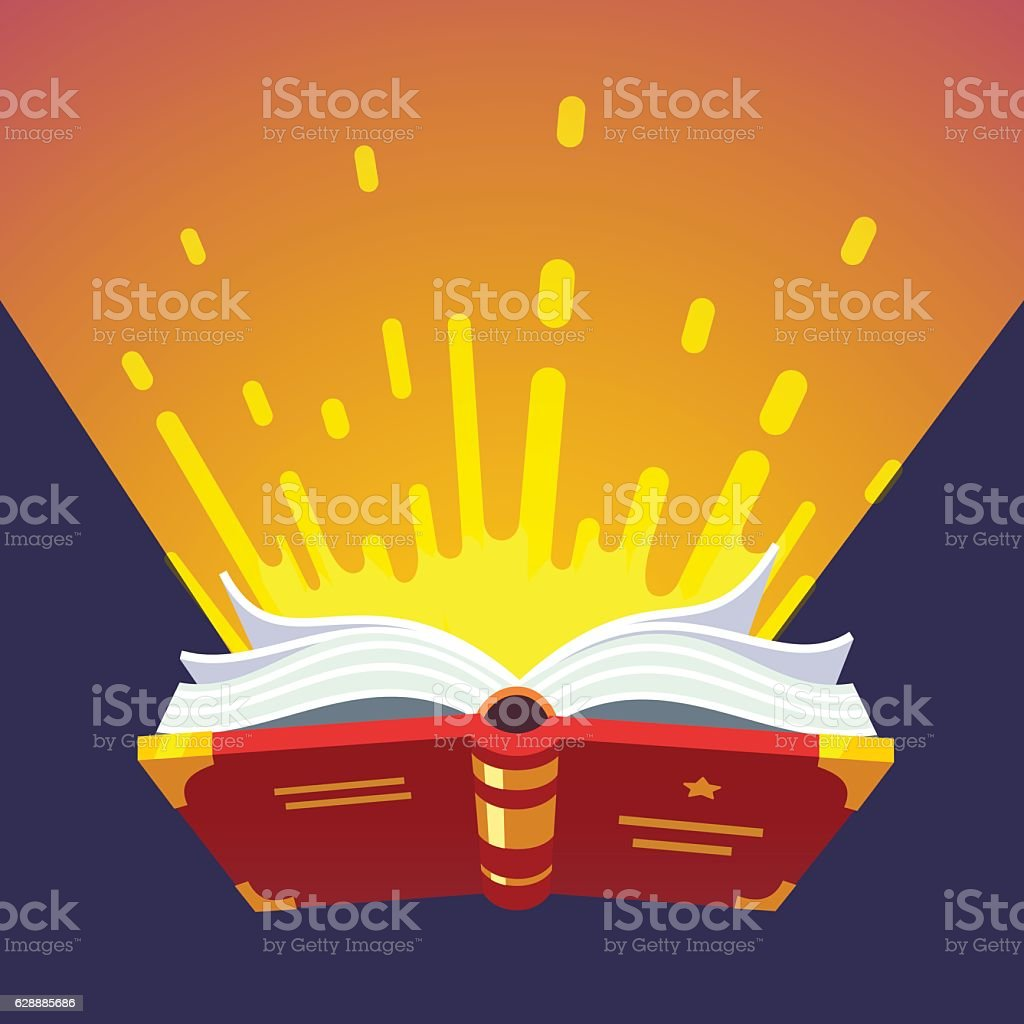 Opened glowing magical book vector art illustration