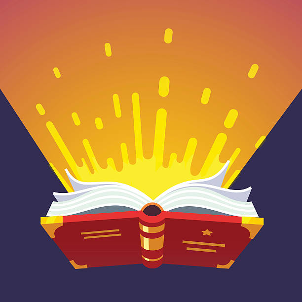Opened glowing magical book Opened glowing magical book of sacred wizard secret spells. Modern flat style vector illustration. spelling stock illustrations