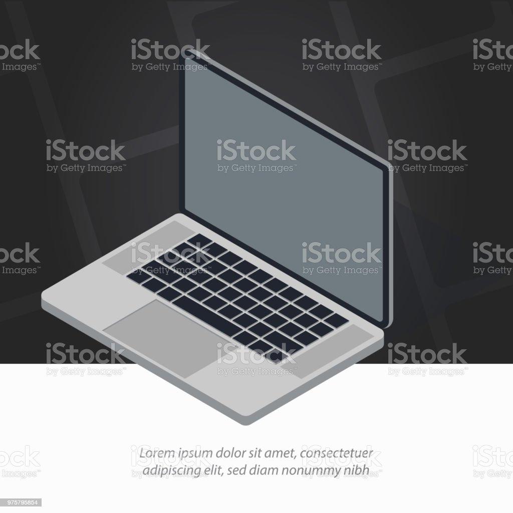 Isometrische Laptop eröffnet. Moderne Vektor-Illustration, Vorlage für Printmedien, Web-Produkte. - Lizenzfrei Arbeiten Vektorgrafik