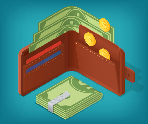 Opened isometric wallet filled with money, coins, credit cards. Pouch and banknotes clip illustration concept. Vector design for business and infographics. Eps10 vector wallet stock illustrations