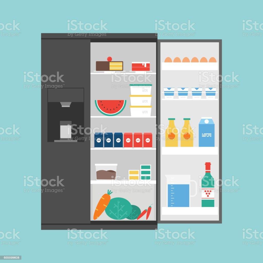 Opened modern refrigerator full of food vector art illustration