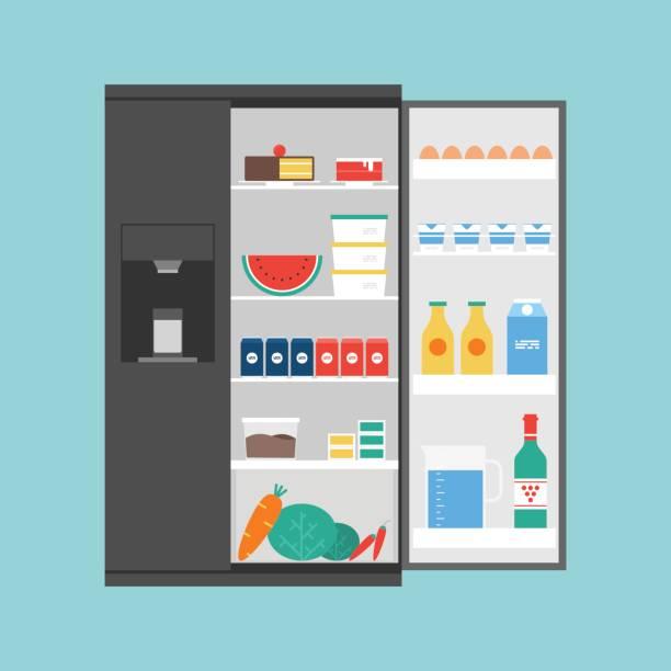 eröffnet moderne kühlschrank voller lebensmittel - kühlschränke stock-grafiken, -clipart, -cartoons und -symbole