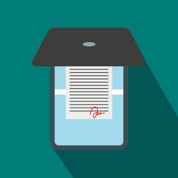 Eröffnet Büro Scanner mit flachen Stil-Ikone – Vektorgrafik