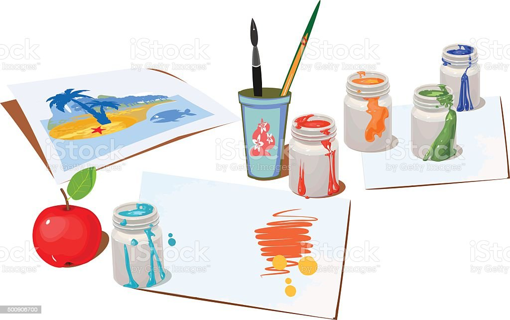 Opened paint buckets colors and paper vector art illustration