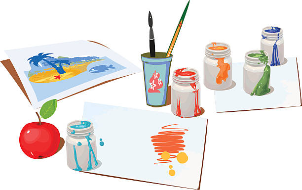 opened paint buckets colors and paper - art class stock illustrations, clip art, cartoons, & icons