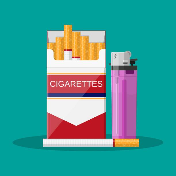 rote zigarettenschachtel eröffnet - feuerzeuggas stock-grafiken, -clipart, -cartoons und -symbole