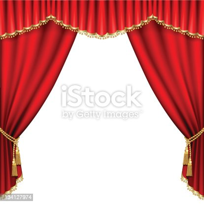 opened red theater curtains on a white background stock vector art