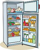 Opened refrigerator full of food - vector stock.