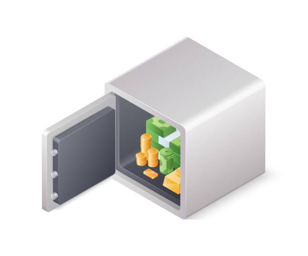 öffnete sichere kiste voller reichtum isoliert auf weißem hintergrund. isometrische vektor-illustration - schließfachsachen stock-grafiken, -clipart, -cartoons und -symbole
