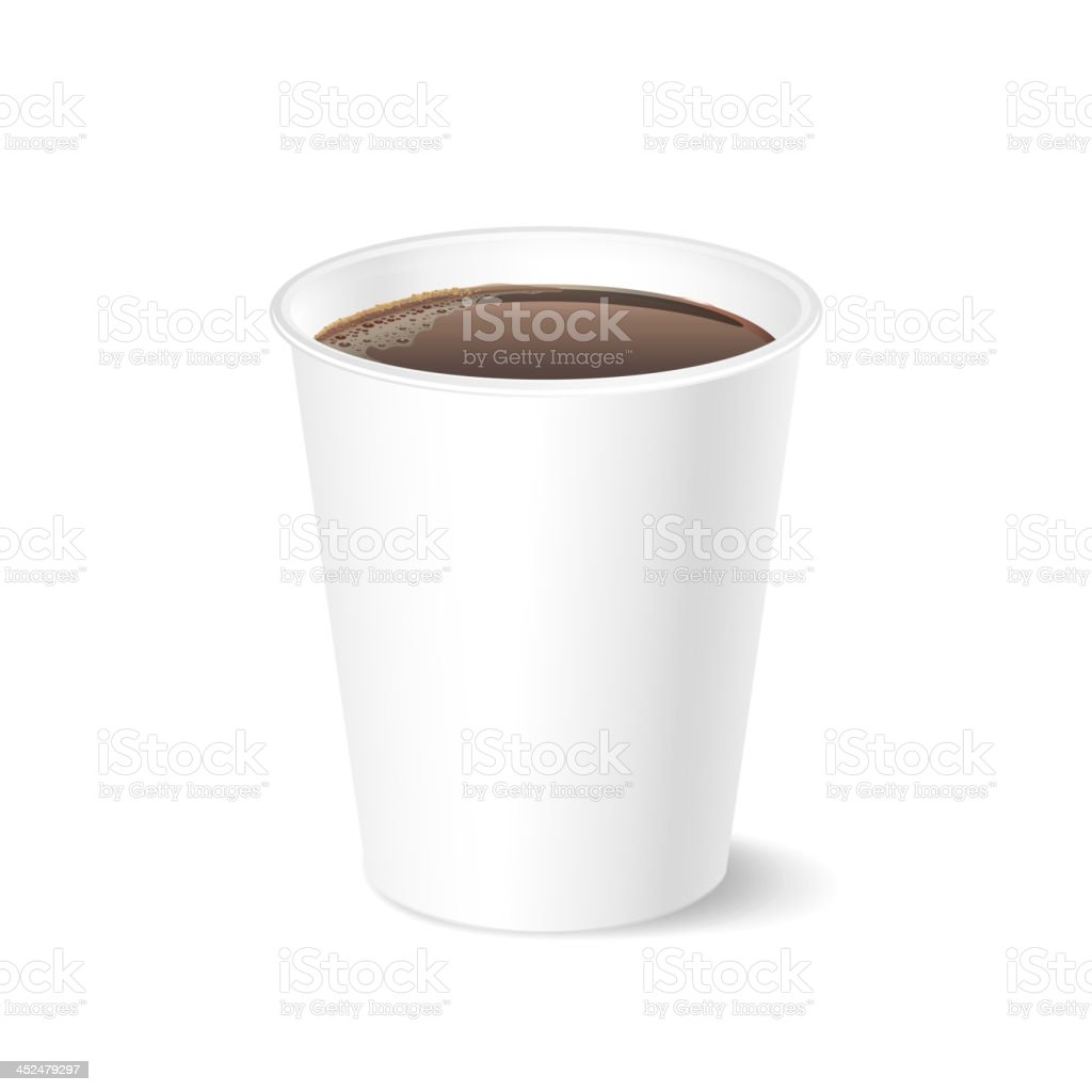 Opened take-out coffee, isolated on a white vector art illustration