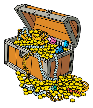 Opened treasure chest with coins