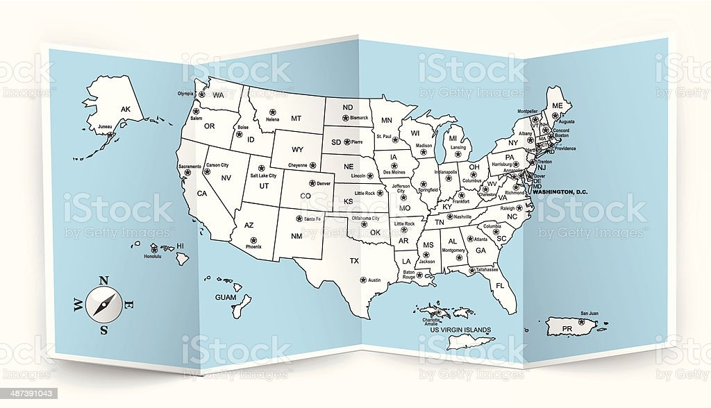 Opened Usa Map Stock Vector Art & More Images of Alaska - US State ...