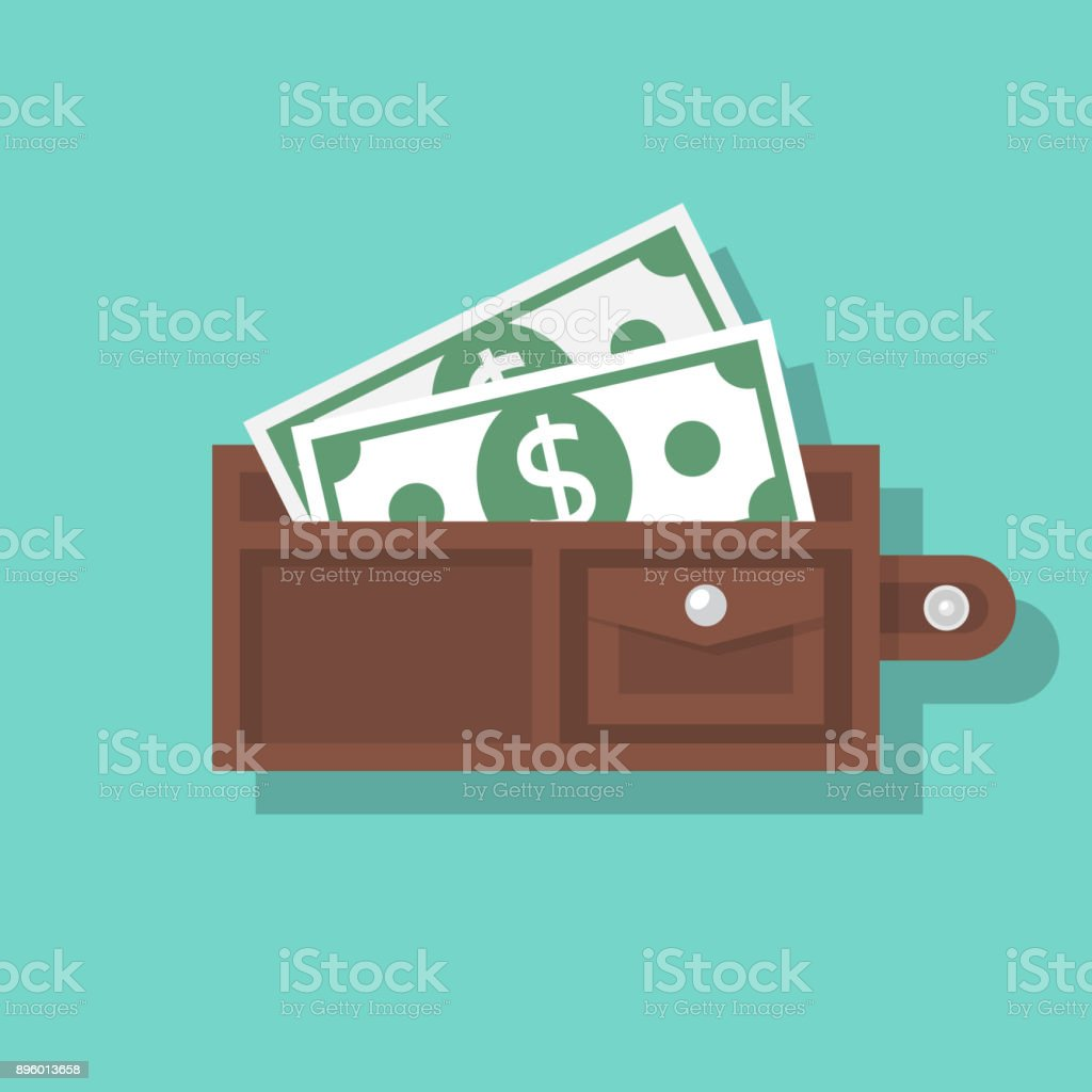 Opened wallet isolated on background Opened wallet isolated on background. Money in purse. Cash payment. Vector illustration flat design. Adult stock vector