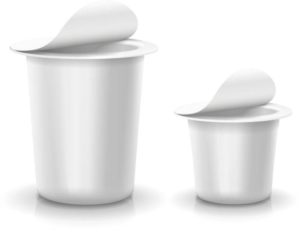 Opened white cup tub food plastic container for dessert, yogurt, Opened white cup tub food plastic container for dessert, yogurt, ice cream Vector pudding stock illustrations